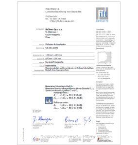 certyfikat izolacyjnosci akustycznej wydany przez Instytut IFT Rosenheim w Niemczech dla przykladowej skrzynki rolety